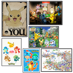 Pokemon Pocket Monsters Cartoon Poster Decorative DIY Wall Sticker Art Home Decor Gift 42*30cm