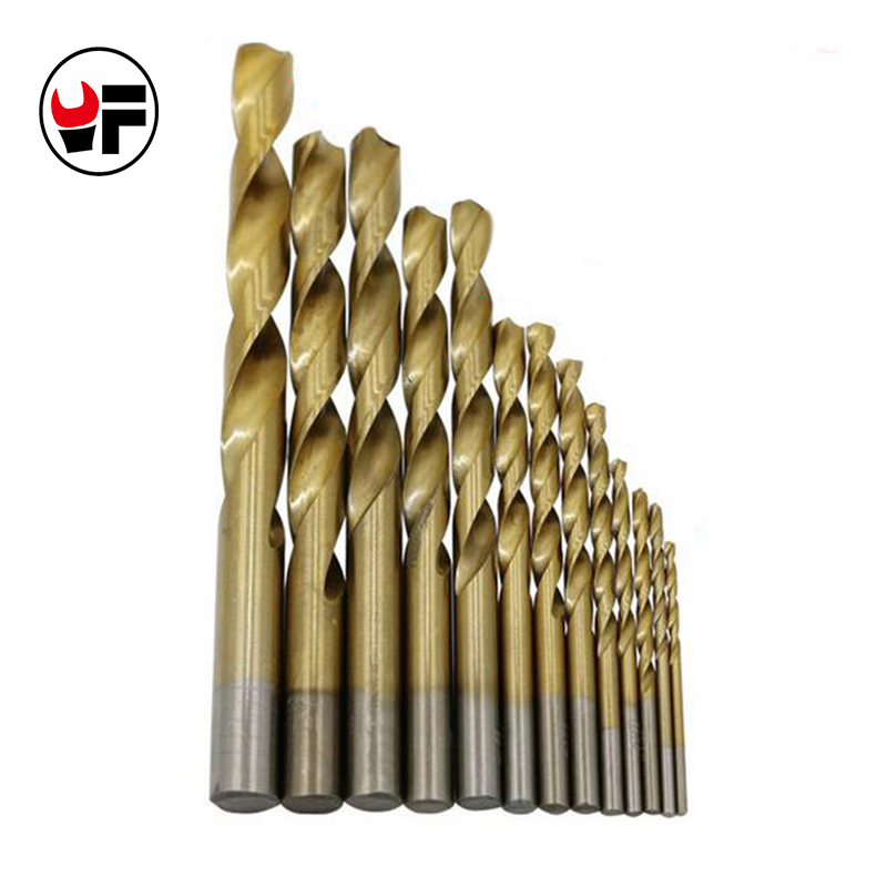 13pcs/set  High-speed Steel Titanium Plated Drill Bits HSS Woodworking Wood Metal Drilling Tool ferramenta 2-12mm HHDZ124 13pcs lot hss high speed steel drill bit set 1 4 hex shank 1 5 6 5mm free shipping hss twist drill bits set for power tools