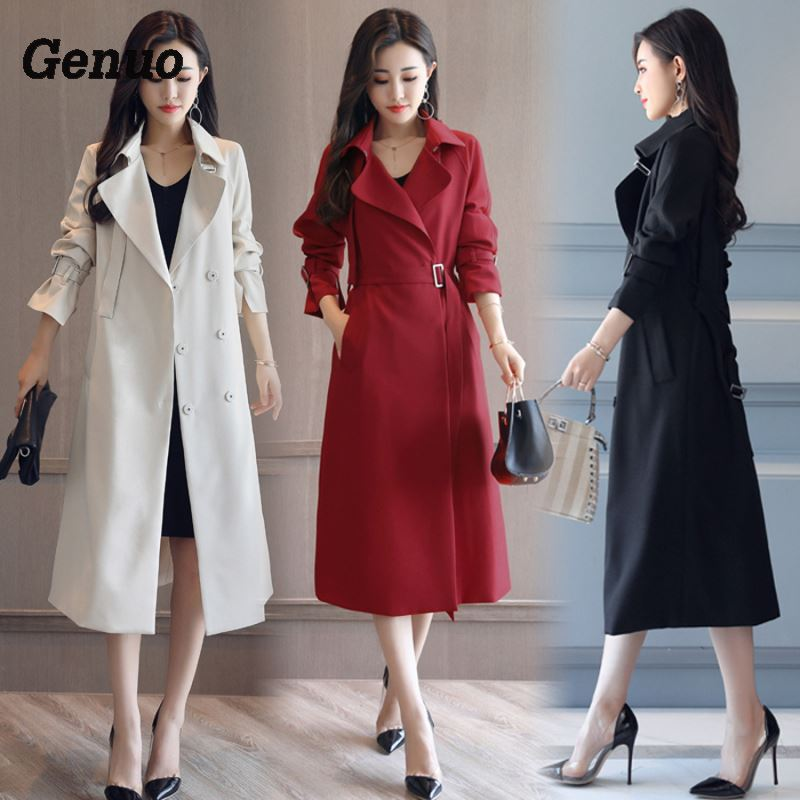 Fashion Spring Autumn Long Trench Coat for Women Belted Office Lady Slim Black Red Beige Long