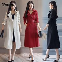 Fashion Spring Autumn Long Trench Coat for Women Belted Office Lady Slim Black Red Beige Long Trench Female Outerwear Genuo Coat