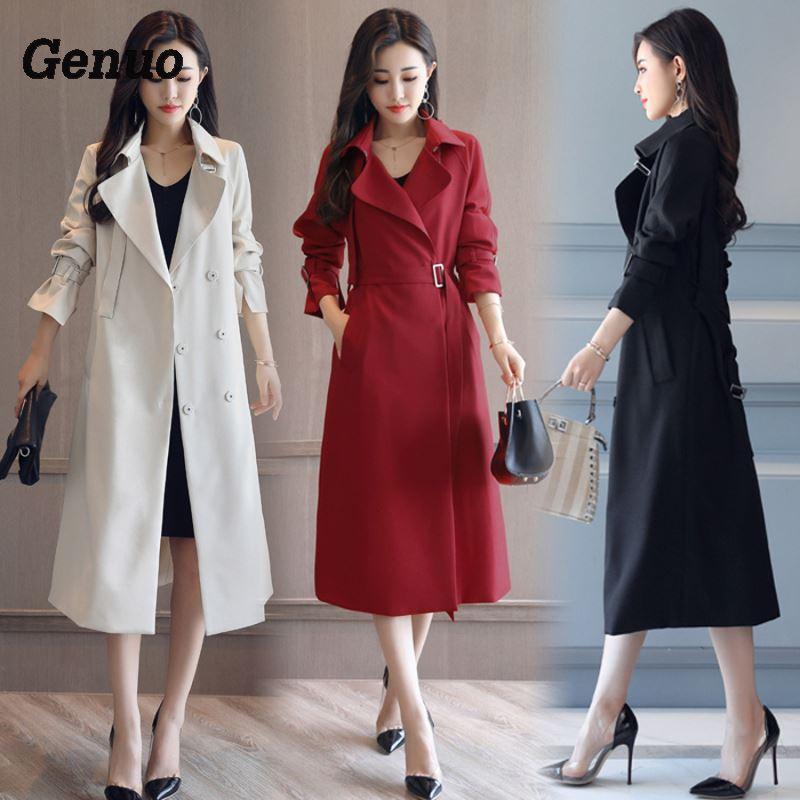 Mode Printemps Automne Longue Tranchée Manteau pour Femmes Ceinturé Office Lady Slim Noir Rouge Beige Longue Tranchée Femelle Survêtement Genuo manteau