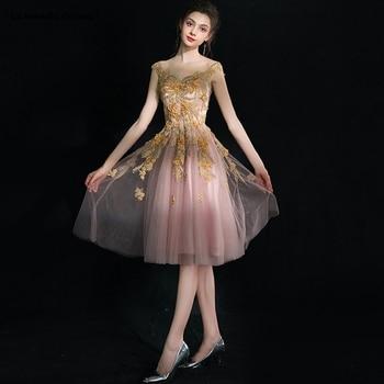 Vestido cocktail 2019 new lace beaded cap sleeve a Line blush gold cocktail dresses Tea Length formal dress plus size