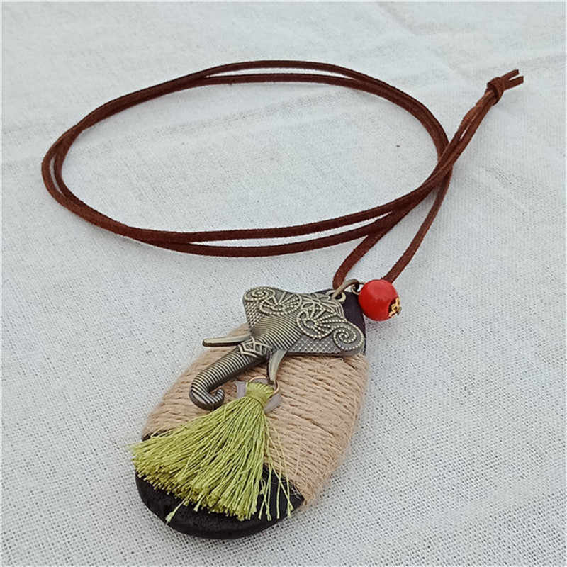 Lovely Alloy Elephant Necklace Chain Handmade Ethnic Waterdrop Wood Long Tassel Pendant Necklace for Women Gift
