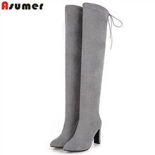 ASUMER Large size 34-48 fashion over the knee high boots pointed toe flock high heels shoes woman elegant autumn winter boots