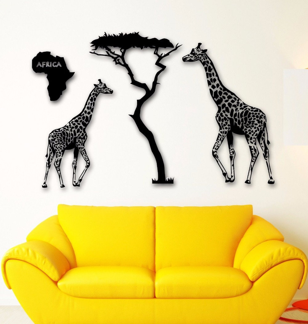 Africa Animal Vinyl Wall Decal Africa Map Giraffe Savanna Africa - Vinyl wall decals animals