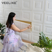 New 3D Self-Adhesive Wallpaper for Living Room Bedroom Kids Room Decoration Pure Color Waterproof TV Background Decorative Film