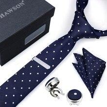 HAWSON дизайн мужской галстук набор с карманом квадратные Галстуки клип Кнопка крышка запонки в подарочной коробке для дня рождения