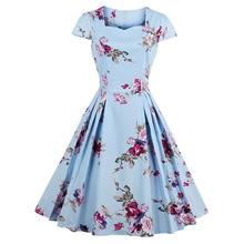 Sisjuly Women Summer Floral Dress Print Expansion Dresses Knee-Length Square Neck Pleated Dress Girls Mid-Waist Summer Dresses