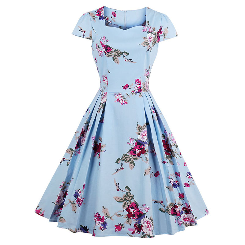 Sisjuly Women Summer Floral Dress Print Expansion Dresses Knee-Length Square Neck Pleated Dress Girls Mid-Waist Summer Dresses