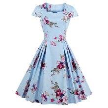 Sisjuly 女性の夏の花ドレス印字展開ドレス膝丈スクエアネックプリーツドレス女の子ミッドウエストの夏ドレス