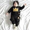 Baby Clothing Set  Infant Boys Girls Crown Clothing Sets Toddler Long Sleeve T Shirt+ Pants Kids Autumn Black Clothes