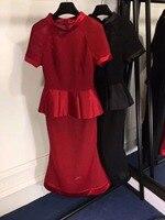2018 узкие платья партии элегантное красное праздничное платье уникальный оборками талии сарафан женские летние модные черные летнее платье