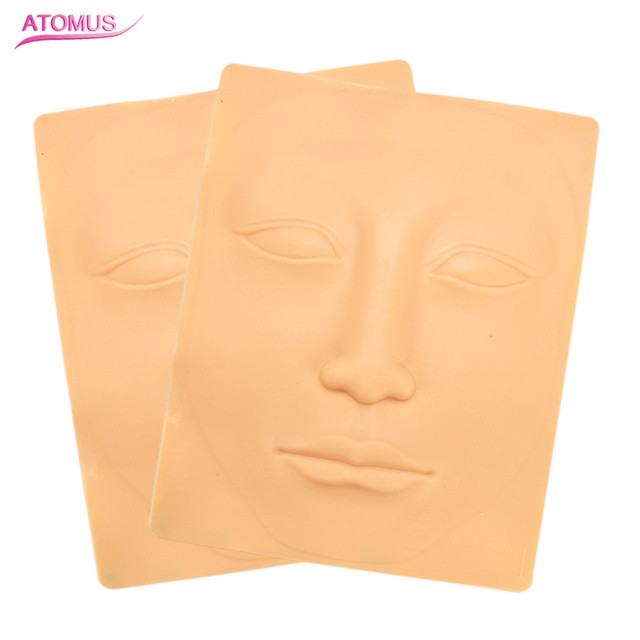 2pcs 3d Silicone Permanent Makeup Tattoo Training Practice Fake Skin