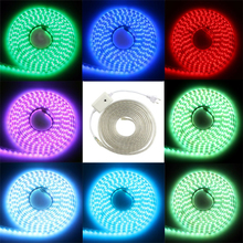 5050 SMD LED Strip RGB 220V 60Leds/M Waterproof IP65 With Controller BOX EU Power Plug Flexible Led Tape Ribbon 1M 2M 5M 10M 15M