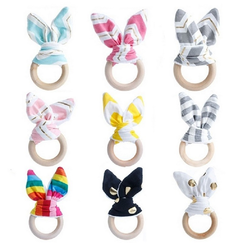New Baby Toys Wooden Hand Grasp Toy Rattles Soft Rabbit Ears Develop Baby Intelligence Baby Grasping Toy Hand Bell Rattle