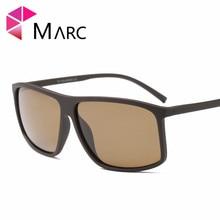 MARC 2019 Fashion Men Sunglasses TR90 Driving Vintage Square Shades Trend Glasses Matte Plastic Solid Resin Brown Lens Eyewear 1