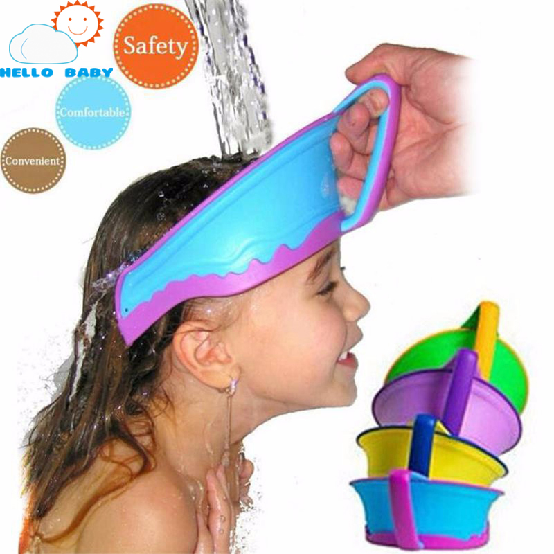 cute new Adjustable Baby Hat  Bath Visor Shower Cap Protect Shampoo hair Wash Shield for Children Infant Splashguard Waterproof