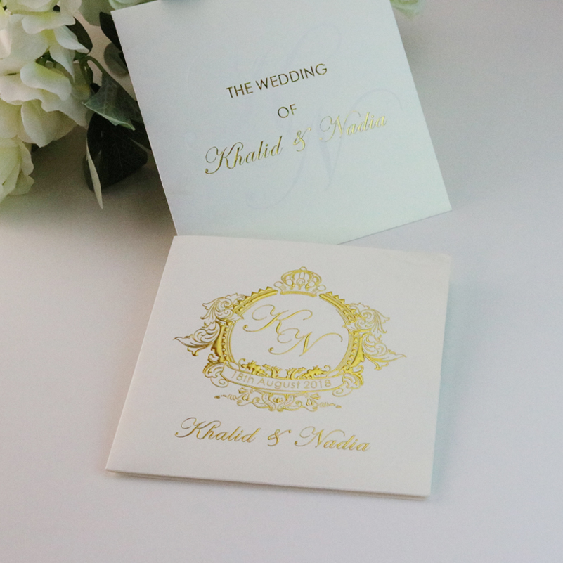 30 Personalized Gold Foiled Pocket Wedding Invitation
