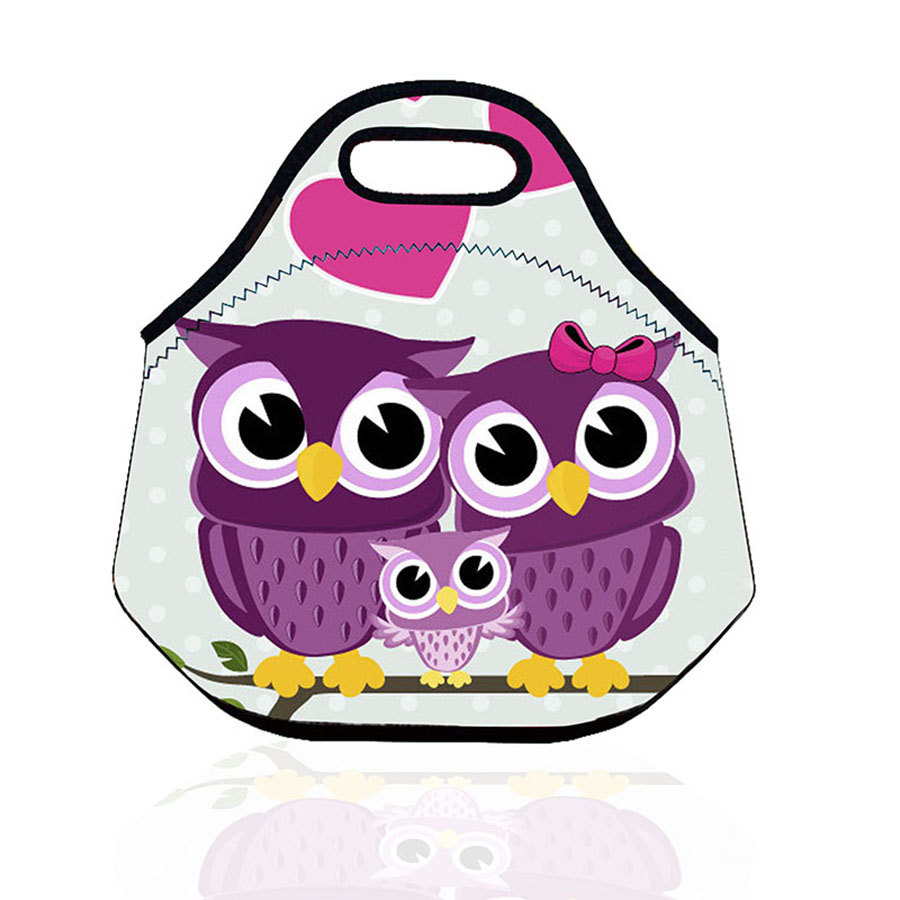 3d Colorful Cartoon Peacock butterfly Portable Travel Work School Picnic Lunch bag Tote Neopren lunch bag for women kids
