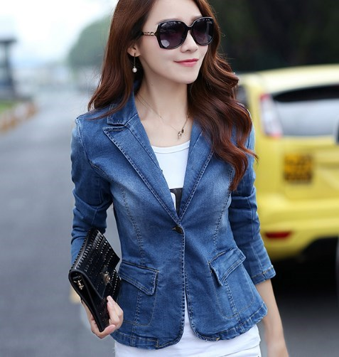 Women Slim Fit Blazers and Jackets Spring Autumn Ladies Short Coats Office Wear Denim Blazer Women Plus Size 3XL Blazer Mujer