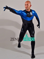 Actual Photo Free Shipping DHL NEW Second Skin Shiny Metallic Blue And Black Zentai Catsuit Shiny Spandex Unitard Sexy Bodysuits