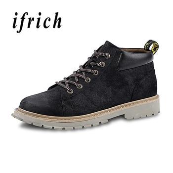 Мужские ботинки Martens осень-зима рабочие безопасные ботинки хаки коричневый мужская обувь на толстой подошве удобные ботильоны для мужчин