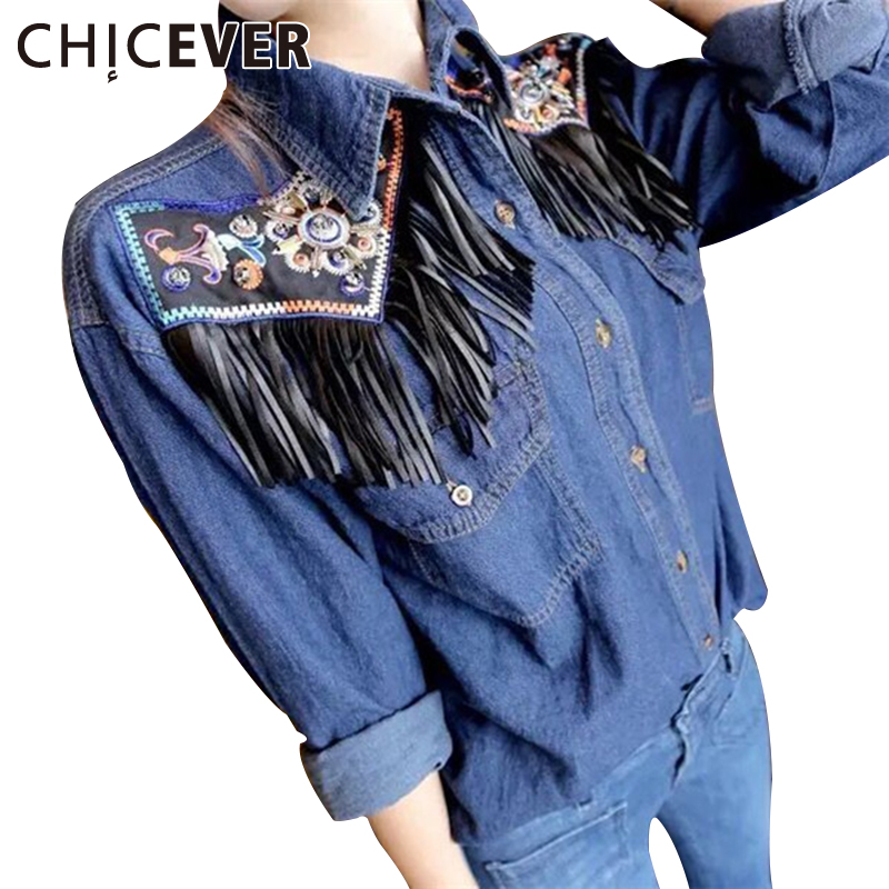 CHICEVER Embroidery Floral Tassel Top Female Denim Long Sleeve Women's Shirt Casual Jeans Tops Clothes Large Big Sizes Autumn