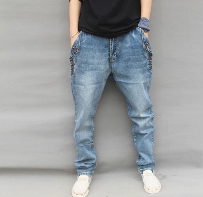 ФОТО 2016 New Men Jeans Hip Hop Pants Elastic Plus Size Baggy Jogger Pants Brand Harem Pants