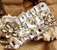 Nouveau Luxe Bling Gem Fleur En Cristal Strass Couverture de Cas Pour l'iphone 4 4S 1 pcs/lot