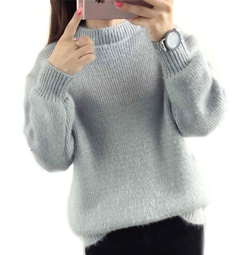 Women Winter Sweater Jumper Pullover Knitting Gray Beige