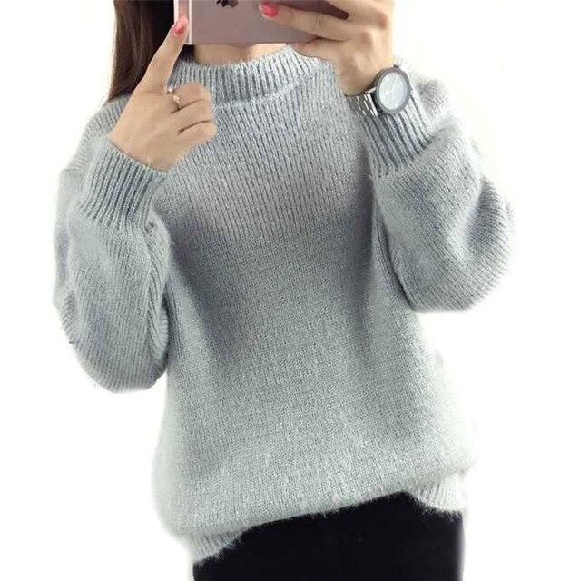 fcd2dafa44 women winter sweater jumper pullover knitting gray beige purple green  oversized pull femme women s sweaters poncho
