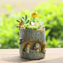 Roogo Resin Flower pot garden Succulent Bonsai decoration planter Animal pots Garden Decoration Plants Pot for child gift
