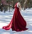 Branco/Marfim/Preto Guarnição da Pele Do Falso Capa de Noiva com capuz Barato do Casamento do Inverno Manto Chiristmas Borgonha Capa Vermelha De Mariee