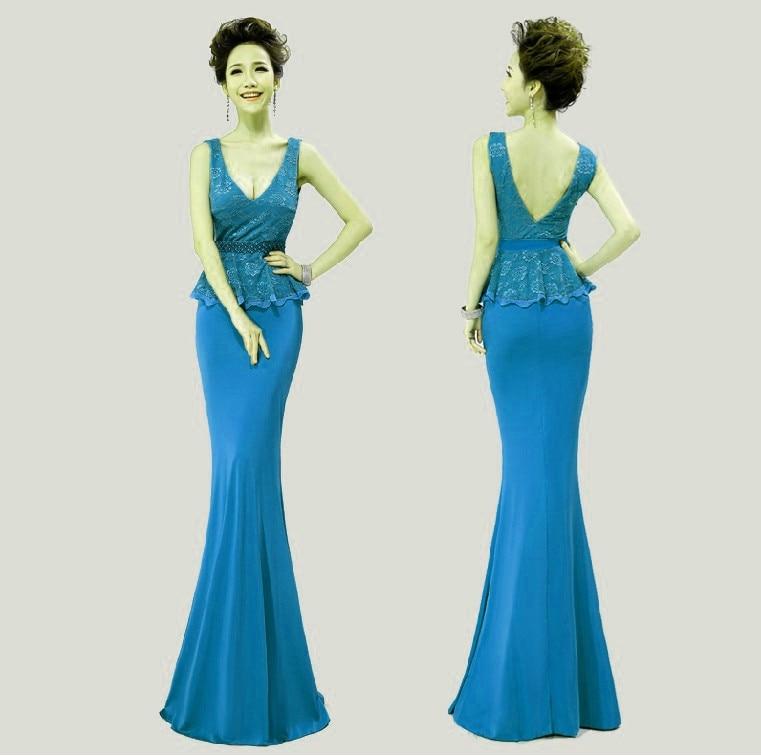 Распродажа, кружевные, v-образная горловина, вечерние платья строгое длинное вечернее платье vestido de festa; robe de soiree Abendkleider H0533 - Цвет: Cran