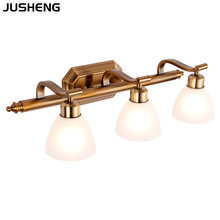Led wall lamp retro bathroom dressing lamp bathroom mirror cabinet lamp makeup lamp mirror headlights american retro bathroom bathroom mirror lamp european iron mirror double iron wall light glass lamp wall lamps
