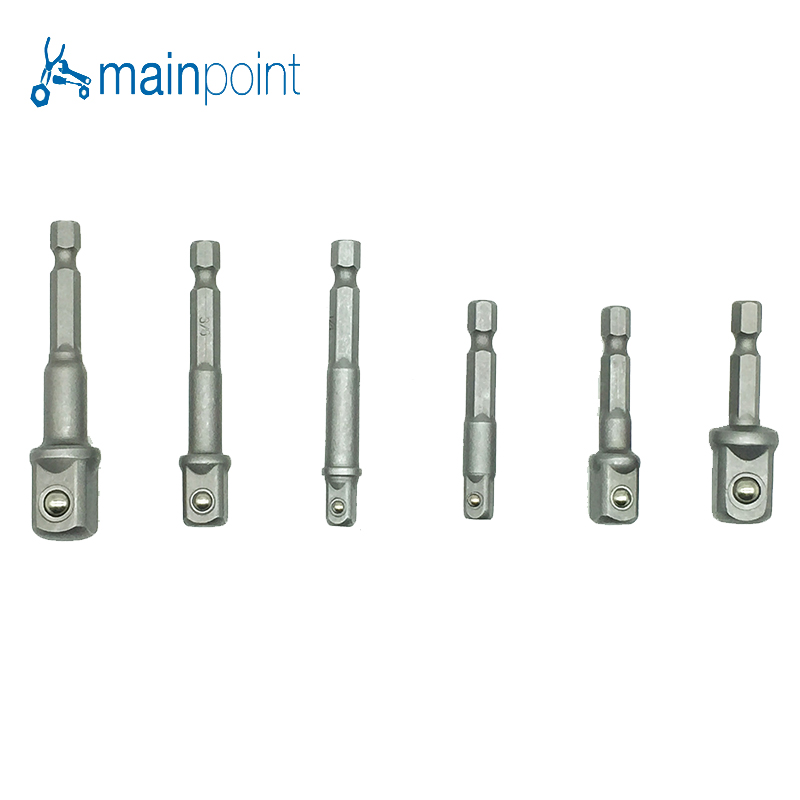 Mainpoint 6pcs Hex Socket Driver 1/43/81/2(50mm&65mm)Electric Screwdriver Head Connecting Rrod Shank Drill Chuck Sleeve Tool