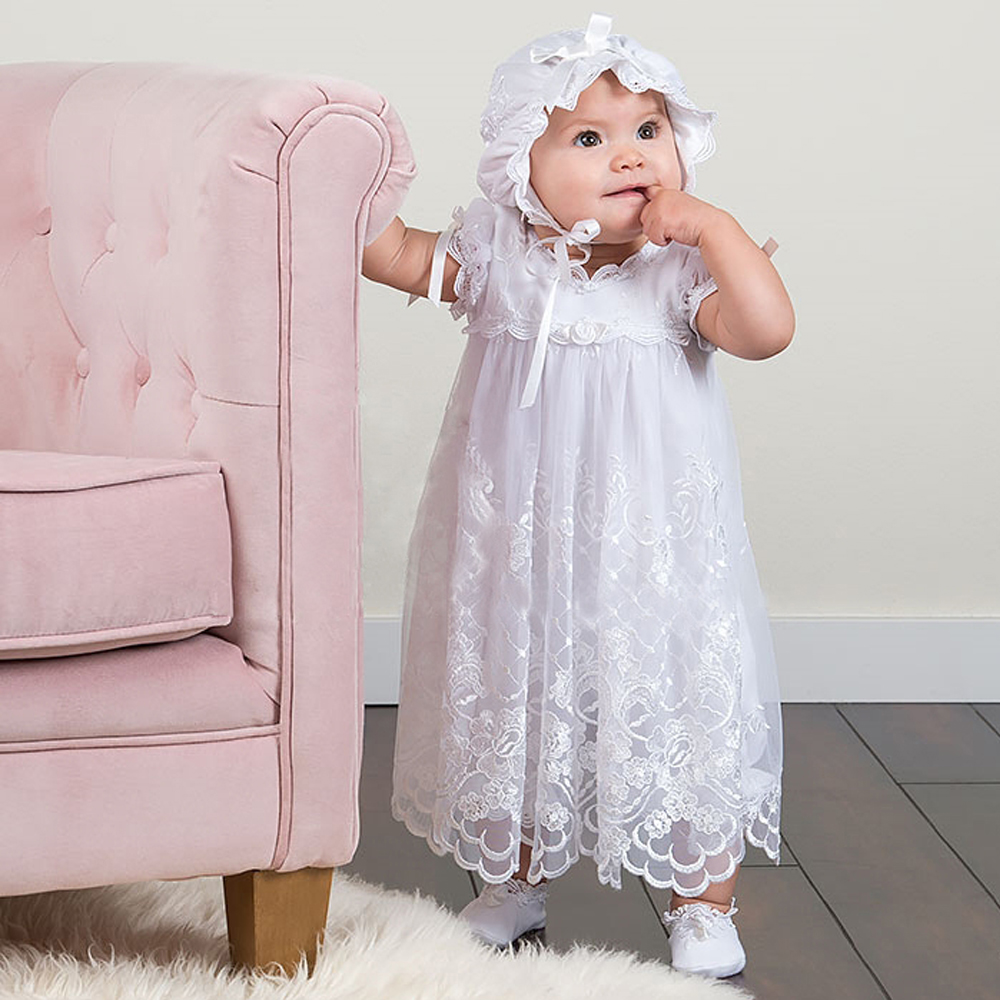 With Hat Baby Girl Christening Dresses European Style Puff Short Sleeves Floor Length Lace Princess Baby White Baptism Gowns hot summer style baby girls dress o neck floor length puff sleeve sleeveless lace a line formal baby girl christening gowns