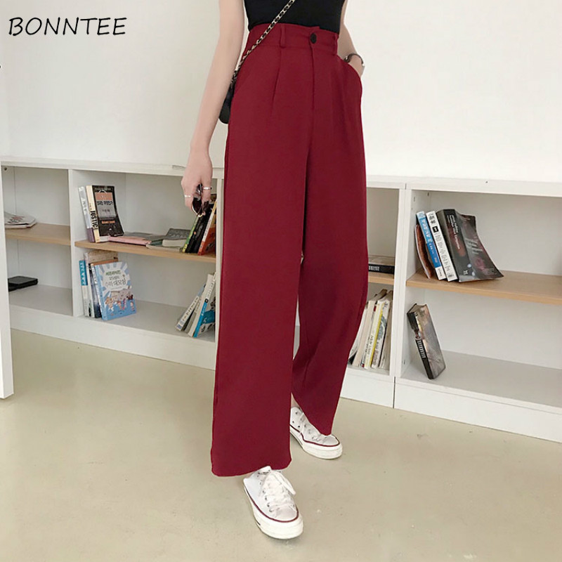 Pants   Women 2019 Spring   Wide     Leg     Pant   High Loose Casual Solid Womens Trouser Korean Style Trendy Suit Capris Female Ulzzang Girl