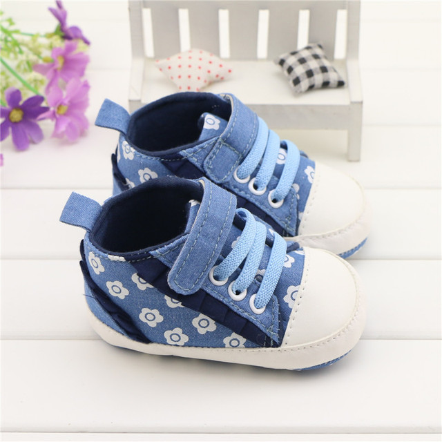 2ca1966f3ae0 cute baby shoes girl infant toddler crib shoes walking sneakers canvas soft- sole flower wrinkles chaussures fille sapatos Baby