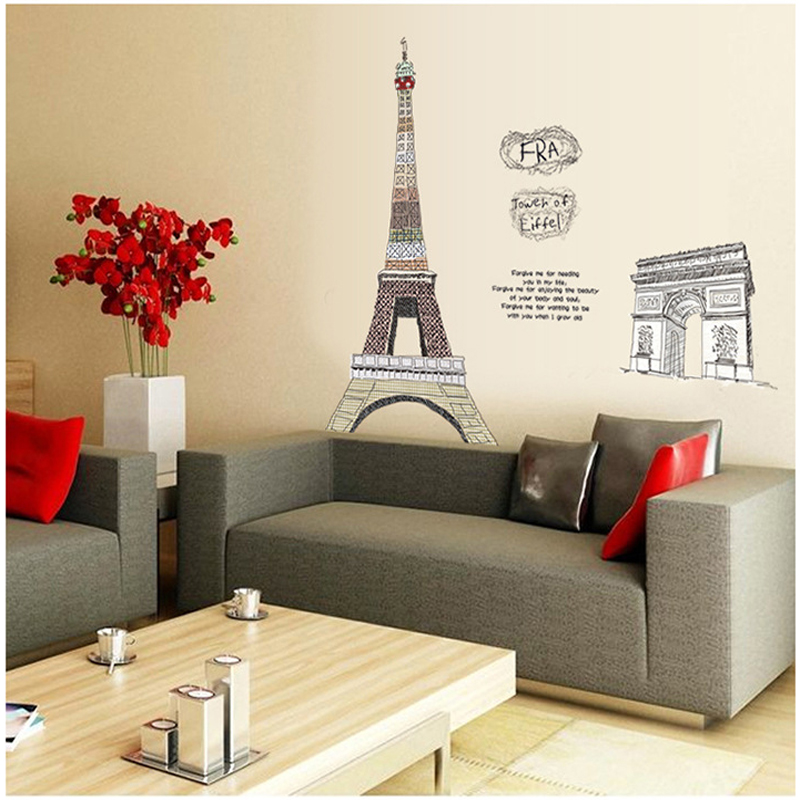Aliexpress Paris Eiffel Tower Living Room Decor Large Vinyl Wall Art Decals Bedroom Wallpaper150 108cm From Reliable