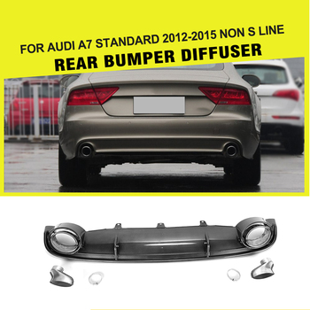 Fake Carbon Fiber Rear Diffuser Lip with Auto Exhaust Muffler Tip for Audi A7 Standard Bumper Only 2012 - 2015