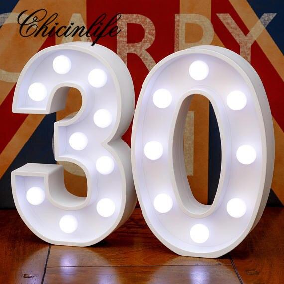 Chicinlife 2 pçs adulto 30/40/50/60 número led string night light lâmpada feliz aniversário decoração do evento fontes de festa