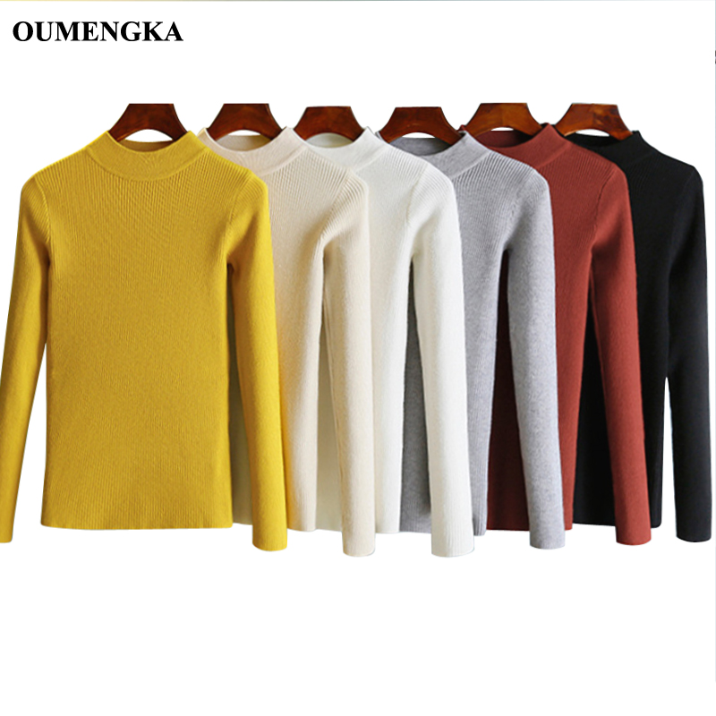 OUMENGKA New-coming Autumn Turtleneck Pullovers Sweaters Primer Shirt Long Sleeve Short Korean Slim-fit Tight Sweater