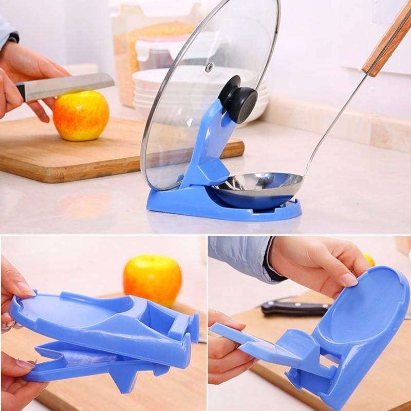 1pc Pot Lid Shelf Dispenser Pan Spoon Pot Holder Kitchen Storage Design Cooking Tool  (6)