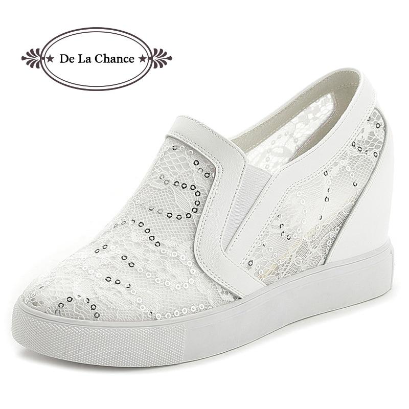 De La Chance White Sneakers Women Slip On Hidden Wedge Heels Fashion Lace Glitter Womens Elevator Shoes Casual Shoes For Women