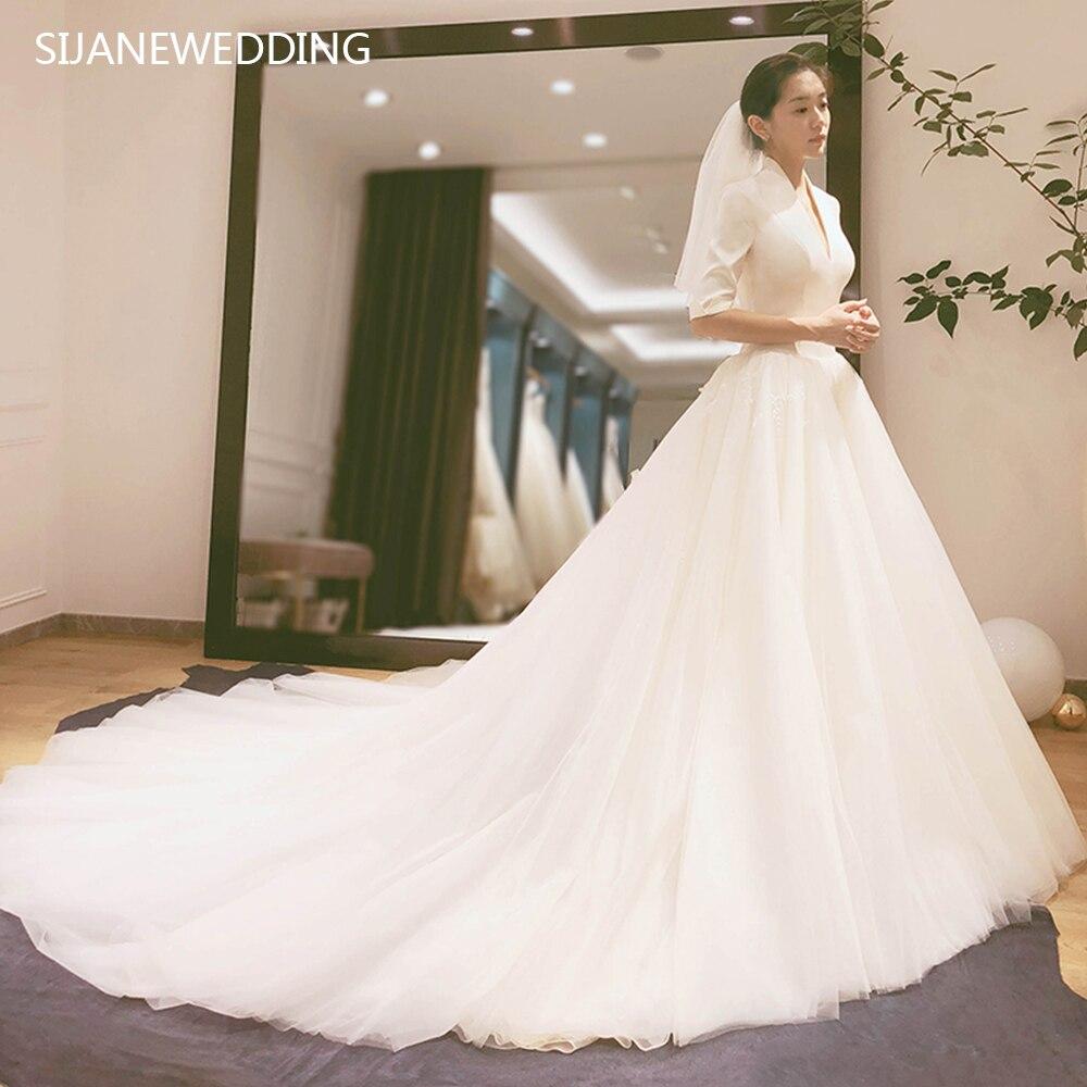 SIJANE Vestido De Noiva Simples Satin Bridal Dress Custom