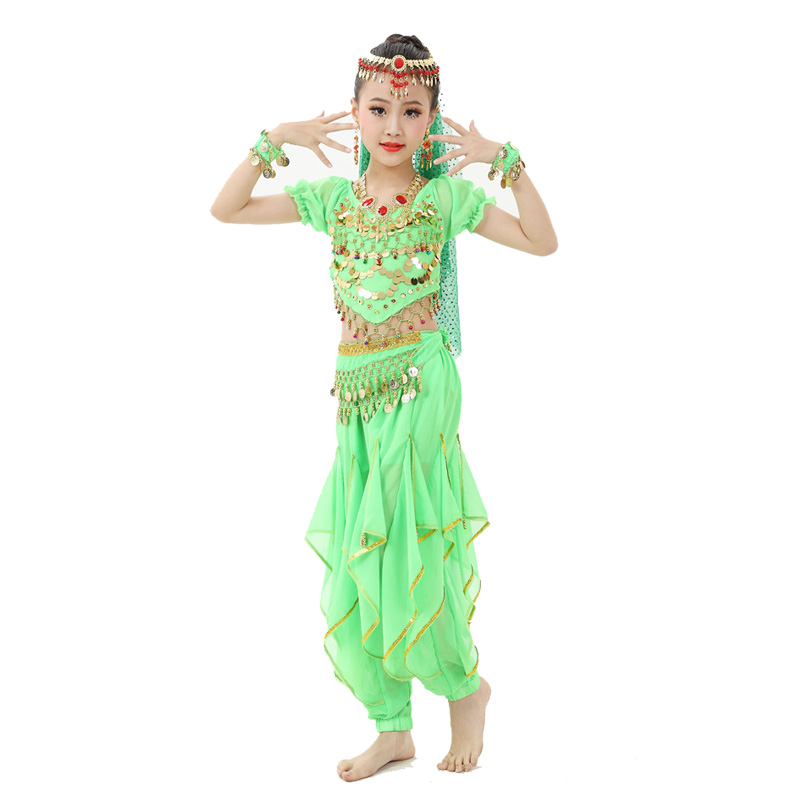 8 colors Belly Dance Costumes Kids New Style Child  Belly Dancing Girls Bollywood Indian Performance Cloth Dress 7pcs/set