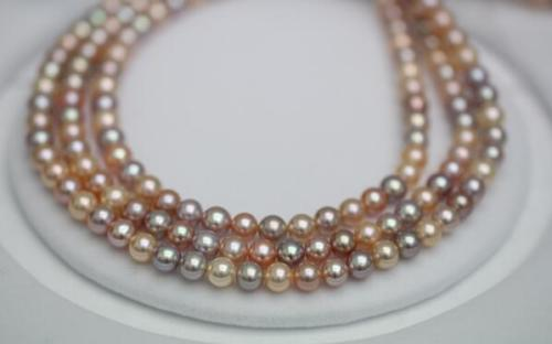 3 ROW 9-10MM SOUTH SEA PINK MULTICOLOR ROUND PEARL NECKLACE3 ROW 9-10MM SOUTH SEA PINK MULTICOLOR ROUND PEARL NECKLACE