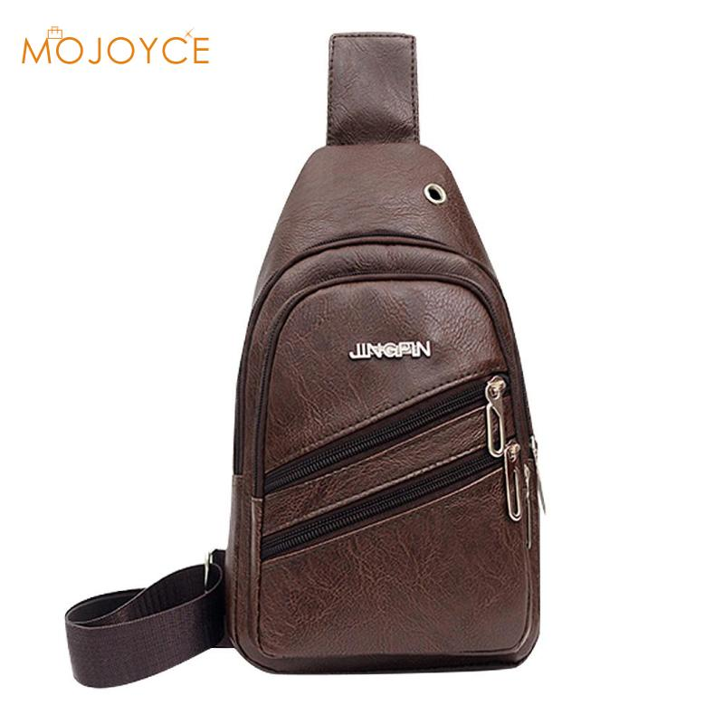 Mens Chest Bags Shoulder Messenger Bags PU Leather Casual Zipper Soft Business Men PU Leather Crossbody Chest Bags Dropshipping
