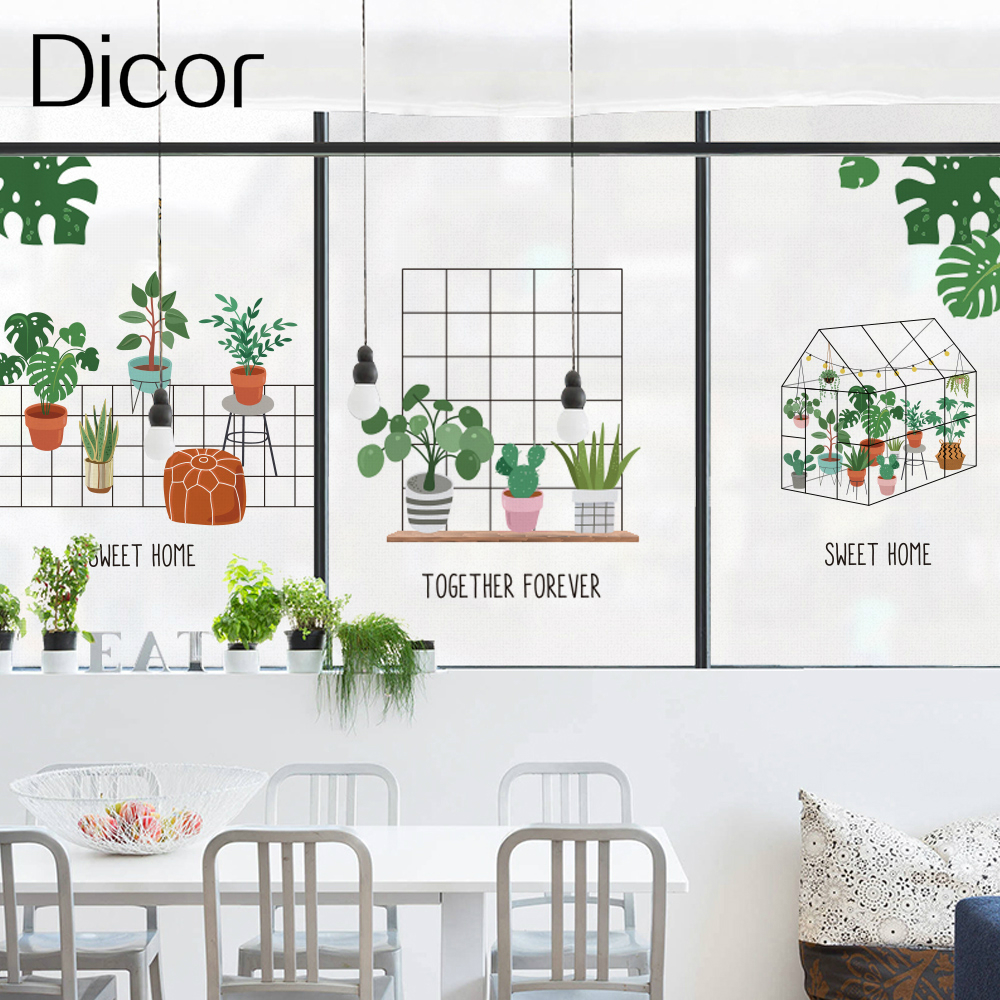 Dicor ABC 3Kinds Fresh Green Potted Window Decorative Film Fashion INS Style Art Glass Sticker Fenetre Film For Living Room New in Decorative Films from Home Garden